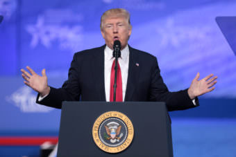 President Donald Trump speaks Feb. 24 at the 2017 Conservative Political Action Conference, or CPAC, in National Harbor, Maryland. (Photo by