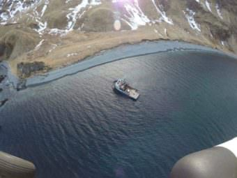 The F/V St. Dominick ran aground Monday morning off Unalaska Island. No signs of pollution have been reported. (Photo courtesy U.S. Coast Guard District 17)