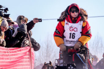 Two-time champion Mitch Seavey begins his Iditarod run at the Fairbanks re-start on Monday. (Photo by Ben Matheson/KNOM)