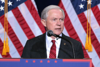 Then-Sen. Jeff Sessions at a Trump campaign event in Phoenix on Aug. 31, 2016.