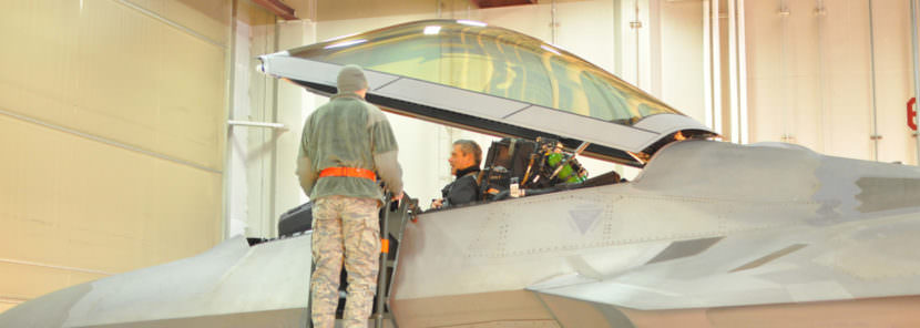 Lt. Gen. Kenneth Wilsbach prepares to depart in an F-22 for a training mission in November 2016. (Photo by Zachariah Hughes, Alaska Public Media)
