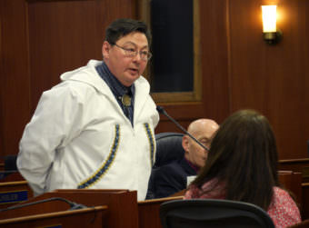 Rep. Dean Westlake, D-Kotzebue, speaks in support of House Bill 78, during a House Floor Session on Feb 3, 2017. (Photo by Skip Gray/360 North)