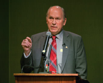 Alaska Gov. Bill Walker speaks at a Juneau Chamber Business Roundtable Luncheon on Feb. 2, 2017. (Photo by Skip Gray/360 North)