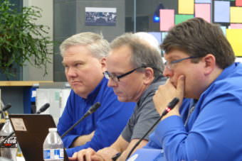 Emil Mackey, left, Sean O'Brien, middle, and Dan DeBartolo, right, all voted in favor of lifting the ban on middle school sports travel at the school board meeting in the Thunder Mountain High School library on Tuesday.