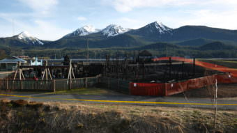 The day after scene at the Twin Lakes fire on Monday, April 24, 2017, at the playground near Twin Lakes. (Photo by Kelli Burkinshaw/KTOO)
