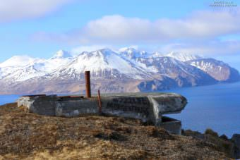Dmitri Dane of Unalaska photographed the graffitied bunker in March. U.S. Coast Guard officials say they can't confirm whether crew members of the cutter Morgenthau are responsible. (Photo courtesy Dmitri Dane/Aleutian Islands Photography)