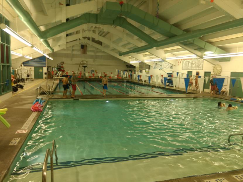 Students from Juneau-Douglas High School use the pool for an athletics program on May 3, 2017.