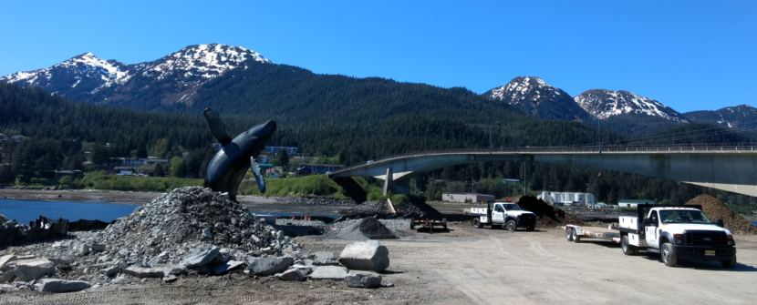 Work continues on the Juneau's Whale Park on May 16, 2017. (Photo by Jacob Resneck/KTOO)