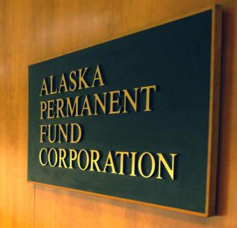 Alaska Permanent Fund Corporation sign, March 14, 2016.