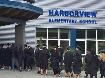 Juneau-Douglas seniors walk to Harborview Elementary School on Friday. (Photo courtesy Juneau School District)