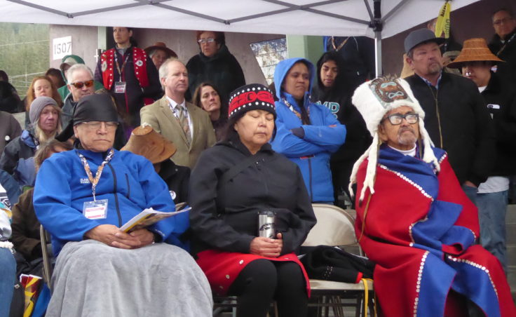 Elders attending Saturday's ceremony in front of Gastineau Elementary School.