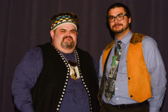Central Council of the Tlingit and Haida Tribes of Alaska President Richard Peterson poses for a photo with James Hart at the recent tribal assembly. (Photo courtesy Central Council Tlingit & Haida)
