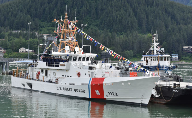 The crew of the Coast Guard Cutter Bailey Barco gathers on deck during the vessel's commissioning ceremony in Juneau on June 14, 2017. The Bailey Barco is the second fast response cutter in Alaska and homeports in Ketchikan.