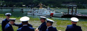 USCGC Bailey Barco's original crew at commissioning, called plank owners, await the start of the commissioning ceremony in Juneau on June 14, 2017.