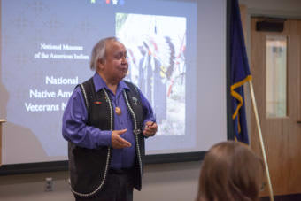 Ozzie Sheakley, commander of Southeast Alaska Native Veterans, welcomes The Smithsonian's National Museum of the American Indian to Southeast Alaska on Monday, June 12, 2017. (Photo courtesy of Sealaska Heritage Institute)