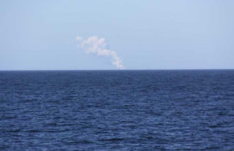 A volcanic plume bellows from Bogoslof on June 5, 2017. (Photo courtesy of U.S. Fish & Wildlife Service, Research Vessel Tiglax)