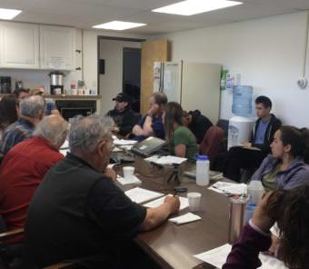 The Kuskokwim River Salmon Management Working Group met for their first meeting of the season on May 21, 2017, where they heard many subsistence fishermen report low water and low harvests. (Photo by Anna Rose MacArthur/KYUK)