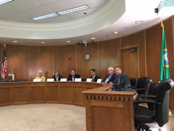 House budget chair Timm Ormsby, second from left, and Senate budget chair John Braun, on right, say they are working to get a budget deal by June 30 to avoid a government shutdown. (Photo by Austin Jenkins/Northwest News Network)