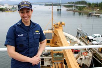 Maple executive officer, Lt. Lisa Hatland smiles for a picture aboard ship.