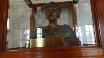 A bust of Alaska Native civil rights leader Elizabeth Peratrovich greets capitol visitors in the front lobby of the Alaska Capitol building. (Photo by Tripp J Crouse/KTOO)