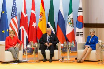 President Donald J. Trump, Chancellor Angela Merkel, and Prime Minister Theresa May July 7, 2017