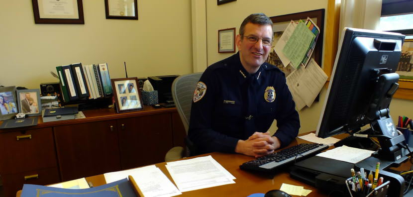 Juneau Police Chief Bryce Johnson in his office before his last day on July 28, 2017.