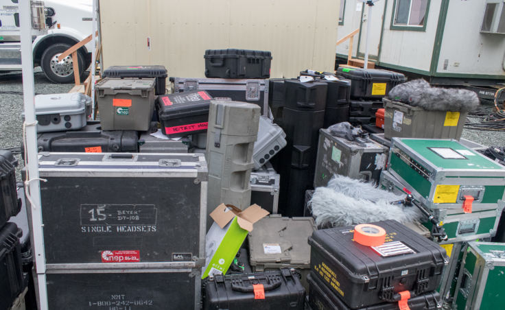 Empty cases used to transport television production equipment to Juneau for Wild Alaska Live. (Photo by Mikko Wilson/KTOO)