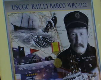 Commemorative poster of Surfman Bailey Barco is put on display during commissioning of the U.S. Coast Guard cutter Bailey Barco in Juneau on June 14, 2017.