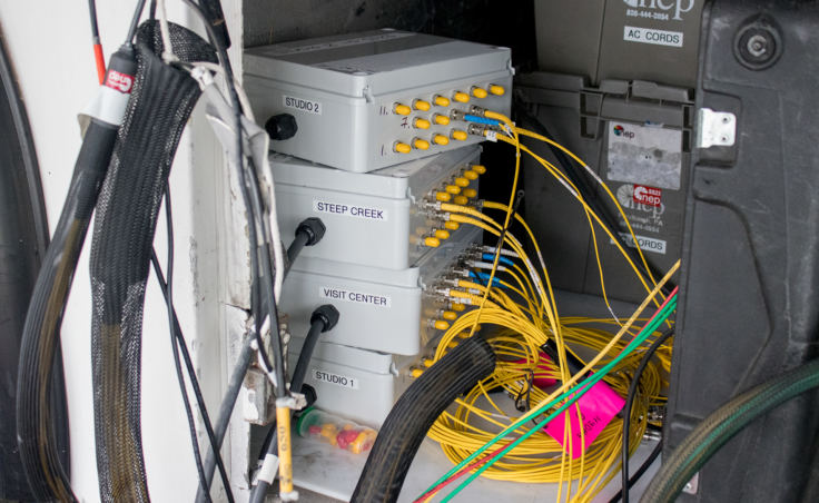 A patch panel connects fiber optic cables from remote camera locations to the central production truck for Wild Alaska Live. (Photo by Mikko Wilson/KTOO)
