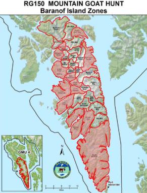 Map of the new mountain goat hunting zones on Baranof Island.
