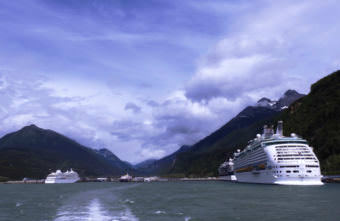 Cruise ships dock in Skagway's port. (Photo by Emily Files/KHNS)