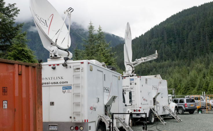 2 satellite trucks provide redundant links from elsewhere in Alaska and out to the world for Wild Alaska Live. (Photo by Mikko Wilson/KTOO)