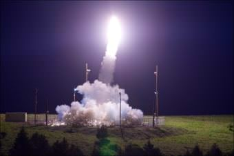 A Terminal High Altitude Area Defense interceptor is launched from the Pacific Spaceport Complex Alaska in Kodiak during flight test on July 11, 2017. The THAAD weapon system successfully intercepted an air-launched intermediate-range ballistic missile target.