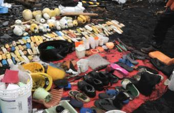 Marine debris collected on Gore Point. (Photo by Aaron Bolton/KBBI)