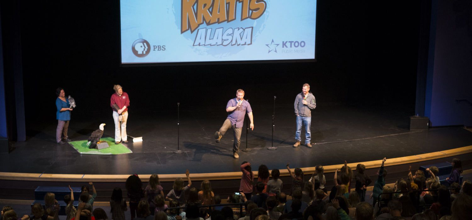Martin and Chris Kratt share stories at Meet The Kratts, Wild Alaska Live Meet & Greet at Thunder Mountain Auditorium on Thursday July 20, 2017. (Photo by Annie Bartholomew/KTOO)