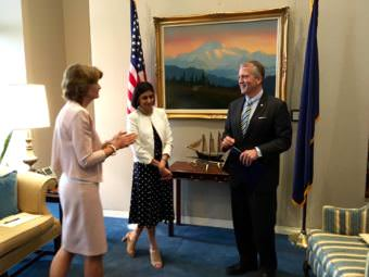 Alaska U.S. Sen. Lisa Murkowski, left, talks with Seema Verma, head of the Centers for Medicare and Medicaid Services, in the office of Sen. Dan Sullivan. (Photo by Liz Ruskin/Alaska Public Media)