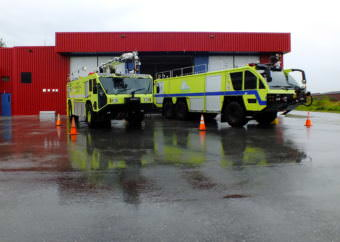 The 'first-outs', or the first ARFF vehicles dispatched to an incident at the Juneau International Airport, are parked outside the Glacier Valley Fire Station.