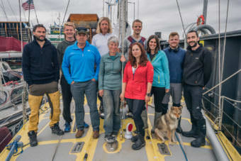 Arctic Mission's crew hails from Britain, the Netherlands, and the United States. From left to right: Jaap van Rijckevorsel, Tim Gordon, Pen Hadow, Nick Carter, Frances Brann, Heather Bauscher, Erik de Jong, Krystina Scheller, Fukimi, Tegid Cartwright and Conor McDonnell. (Photo courtesy Conor McDonnell)