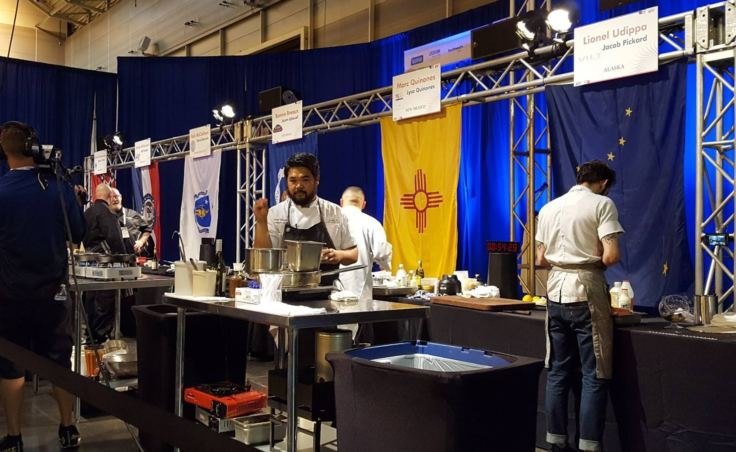 Chef Lionel Uddipa represents the Juneau restaurant Salt at the 14th annual Great American Seafood Cook-Off in New Orleans on Saturday, Aug. 5, 2017. Uddipa won the conest.