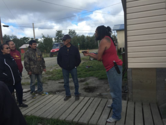 Akiak residents confront Jacques Cooper, a former VPO who multiple community members claim sold alcohol and marijuana illegally. The confrontation was live streamed on Facebook.(Photo courtesy Mike Williams)