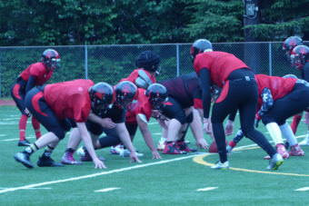 The Juneau-Douglas High School Crimson Bears practice at Adair-Kennedy Memorial Park on Friday, July 28, 2017.