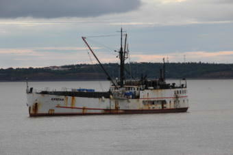 The 180-foot Akutan anchored is anchored August 5, 2017, in the Nushagak Bay not far from the Dillingham dock. (Photo by Dave Bendinger/KDLG)