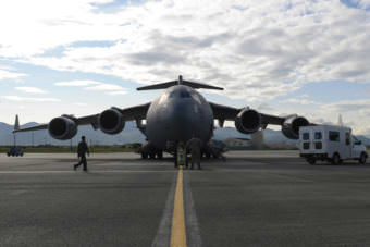 Airmen fuel a C-17 Globemaster III, at Joint Base Elmendorf-Richardson, Alaska, Aug. 28, 2017, preparing to leave for Texas to provide humanitarian support after Hurricane Harvey. The Air National Guard 176th Wing sent personnel from the 212th Rescue Squadron to provide search-and-rescue, and support aeromedical evacuation and humanitarian relief. (U.S Air Force photo by Airman 1st Class Christopher R. Morales)