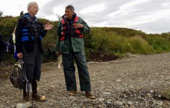 Larry Hartig, left, Alaska Department of Environment Conservation Commissioner and Federal Co-chair of the Denali Commission Joel Neimeyer. (Photo by Christine Trudeau/KYUK)