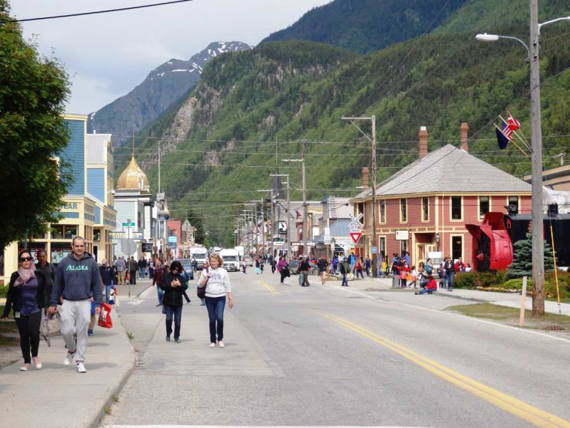 Skagway's Broadway Street on a summer day. (Photo by Emily Files/KHNS)