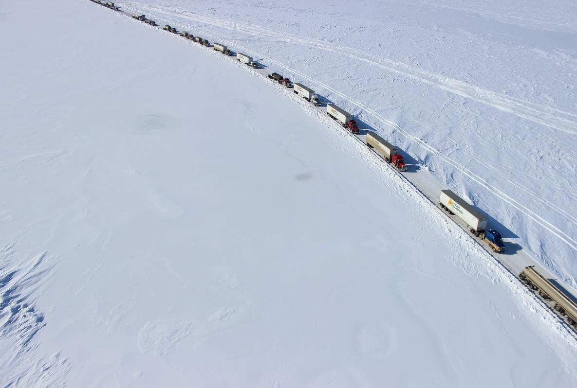 Sagavanirktok River flooding halted trucks en route to the North Slope oil complex several times in spring and summer 2015, creating long backups at points along the Dalton Highway. (File photo by KUAC)
