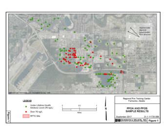 Fairbanks City Engineer Jackson Fox says the city has tested more than 160 wells around the city-operated Regional Fire Training Center, and in areas downgradient from the RFTC, for the presence of perflourinated compounds. Many have shown levels of PFCs that exceed the federal Environmental Protection Agency's Lifetime Health Advisory level, which can harm human health. (Graphic by Alaska Department of Environmental Conservation)