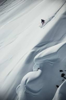 A skier competes in a Freeride event in Haines. (Photo courtesy Freeride World Tour)
