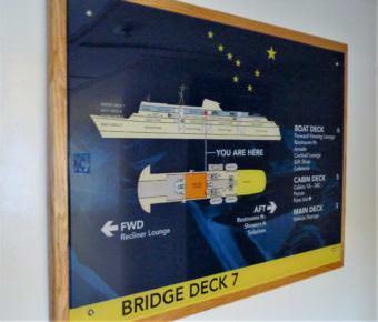 An onboard diagram illustrates what's on the ferry Matanuska's Bridge Deck on Sept. 20, 2017. (Photo by Ed Schoenfeld/CoastAlaska News)