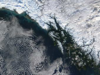 NASA satellite imagery shows Southeast Alaska in true color on Nov. 24, 2001.